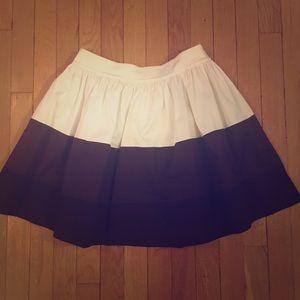 EUC Kate Spade White/Brown/Black Stripe Skirt Sz 6